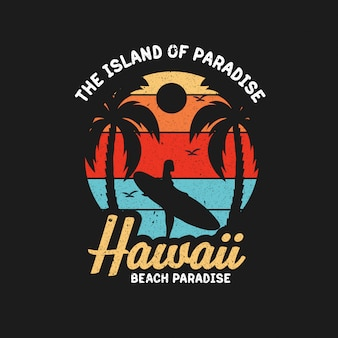 Surfing hawaii paradise illustration