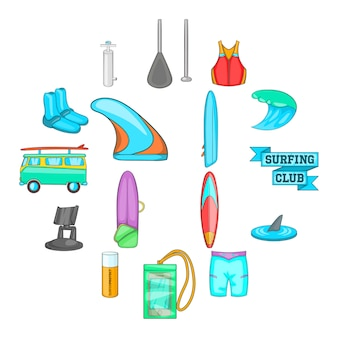 Surfing icons set, cartoon style