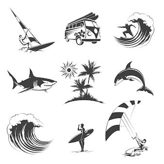 서핑 아이콘을 설정합니다. 스포츠 서핑 바다, 해변 및 여행, 서퍼 기호,