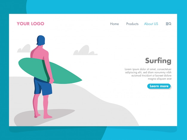 Surfing illustration for landing page