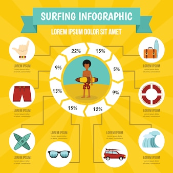 Surfing infographic concept, flat style