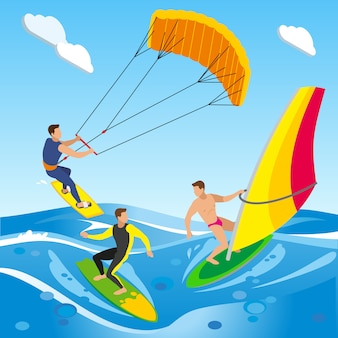 Surfing isometric composition with open sea landscape with images of clouds and different types of sailboard
