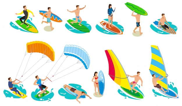 Surfing isometric and various models and kinds of sail surfboard