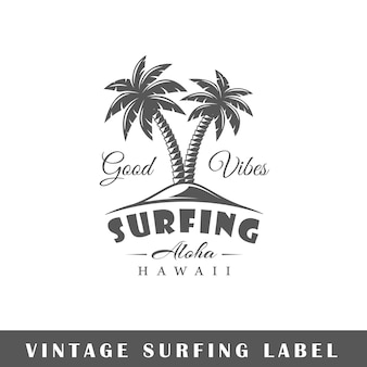 Surfing label isolated  . design element.