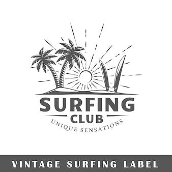 Этикетка серфинга на белом фоне. элемент. шаблон для логотипа, вывесок, брендинга. иллюстрация