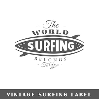 흰색 바탕에 서핑 레이블입니다. 요소. 로고, 간판, 브랜딩을위한 템플릿입니다. 삽화