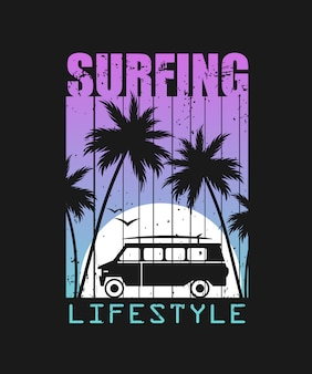 Surfing lifestyle illustration