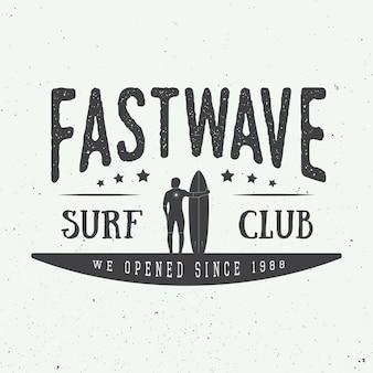 Surfing logo, label or badge