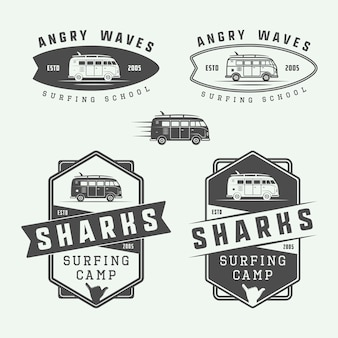 Surfing logo set