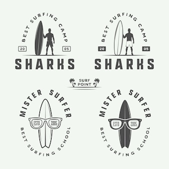 Surfing logos, emblems, badges