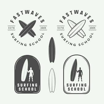 Surfing logos, emblems