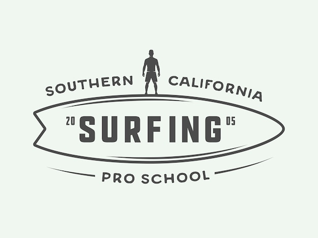 Surfing logos, labels, badges