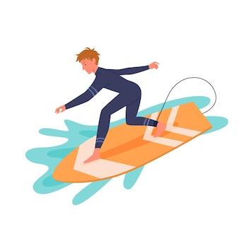 서핑 보드 벡터 일러스트 레이 션에 잠수복에서 서핑 남자. 서핑 보드에 만화 활성 행복 젊은 서퍼 남자 캐릭터 바다 또는 바다 파도를 잡는, 흰색 절연 극단적 인 수상 스포츠 활동을 서핑