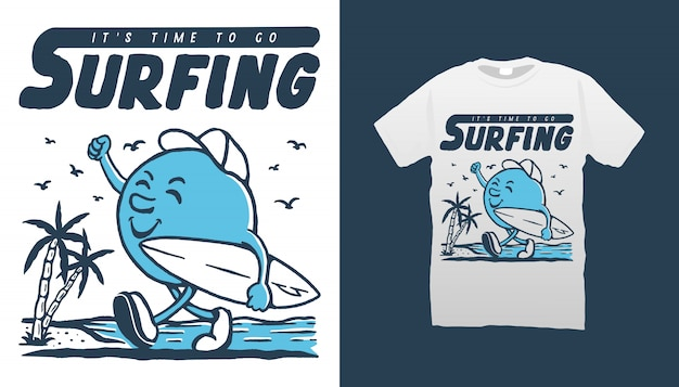 Серфинг талисман иллюстрация футболка дизайн