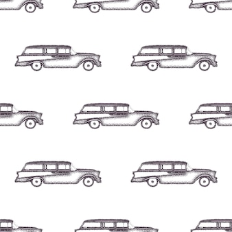 サーフィンの古いスタイルの車のパターンデザイン。サーファーバンと夏のシームレスな壁紙。モノクロのコンビカーデザイン。ベクトルイラスト。布地の印刷、webプロジェクト、tシャツまたはtシャツのデザインに使用します。