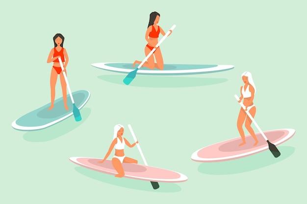 サーフィンまたはサーフィンアイコンはベクトルバナーを設定します