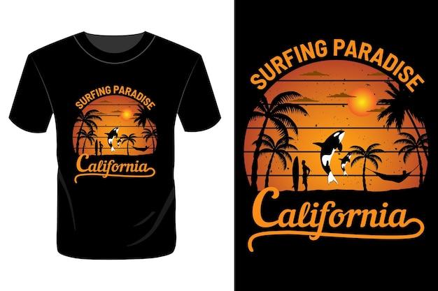 Surfing paradise california t shirt design vintage retro