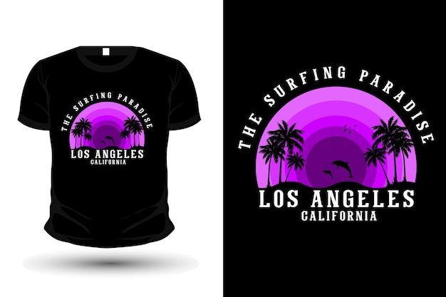 The surfing paradise t-shirt design silhouette retro style