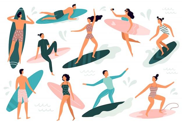 서핑 사람들. 서퍼 서핑 보드 그림 세트에 서