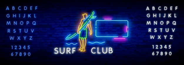 Surfing poster in neon style. glowing sign for surf club or shop.