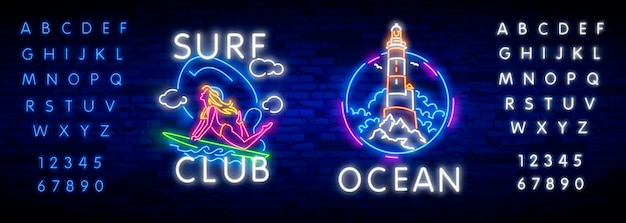 Surfing poster in neon style.