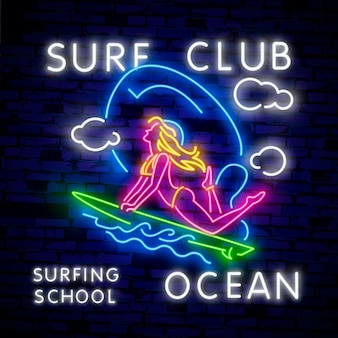 Surfing poster in neon style