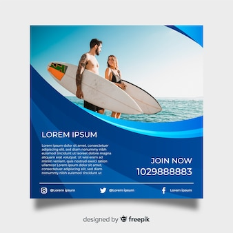 Surfing poster template with photo