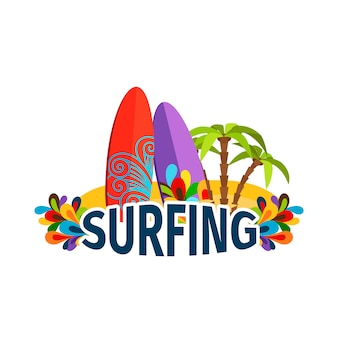 Surfing poster with palm trees