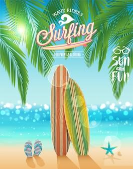 熱帯のビーチを背景にしたサーフィン ポスター