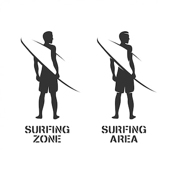 Surfing related wall art stencil
