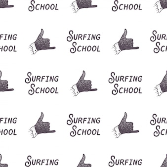Surfing school old style pattern design. summer seamless wallpaper with surfer sign - shaka