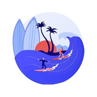 サーフィン学校の生徒。ウォータースポーツ、個人トレーニング、夏のレクリエーション。サーフボードでバランスを取ることを学ぶ少女。女性サーファーライディングウェーブ。ベクトル分離概念比喩イラスト