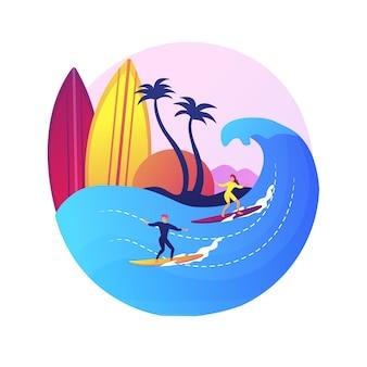サーフィン学校の生徒。ウォータースポーツ、個人トレーニング、夏のレクリエーション。サーフボードでバランスを取ることを学ぶ少女。女性サーファーライディングウェーブ。