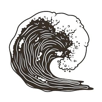 Серфинг морской волны с пеной в перспективе