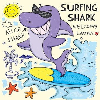 Surfing shark hand drawn for t shirt