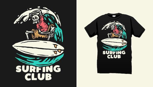 서핑 해골 티셔츠 디자인