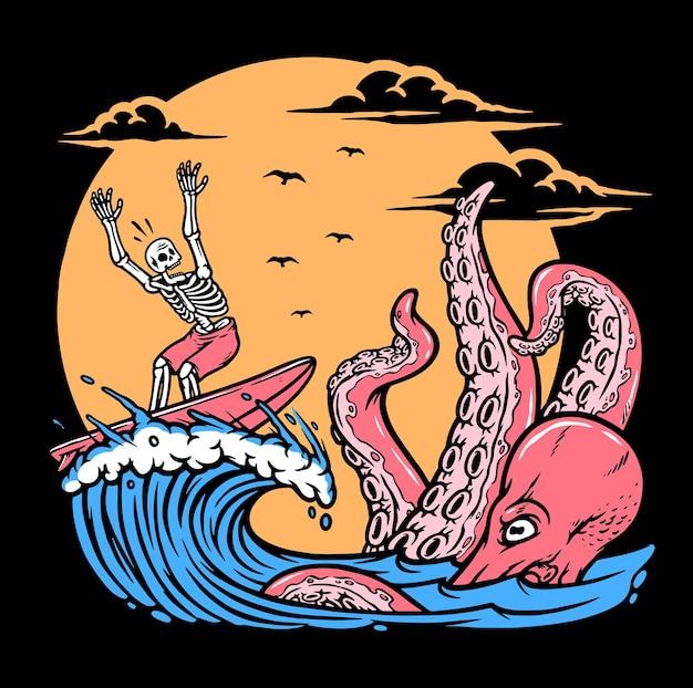 頭蓋骨とタコのサーフィン