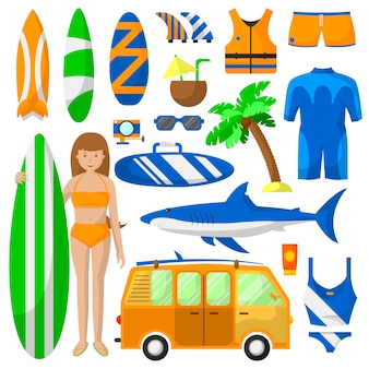 Surfing sport equipment vector collection.