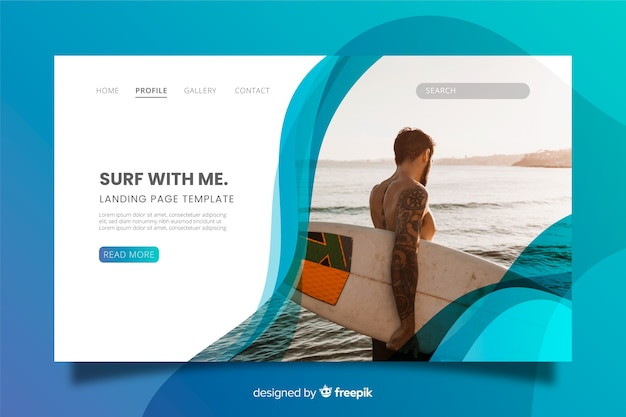 Surfing sport landing page with photo