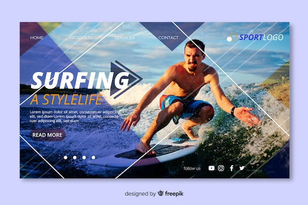 Surfing sport landing page