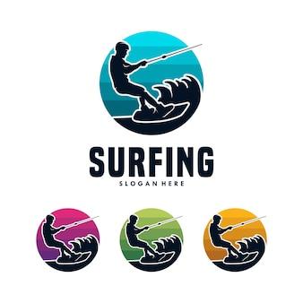 Surfing sport logo template design