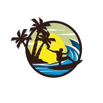 Surfing sport logo