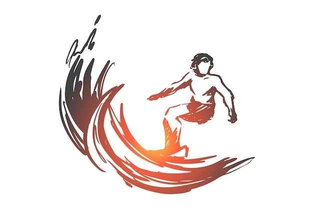 サーフィン、スポーツ、波、海、夏のコンセプト。波の概念スケッチでサーフィンする手描きの男。