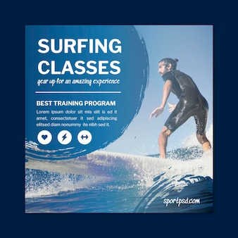 Surfing square flyer template