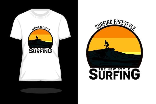Surfing style silhouette retro t shirt design