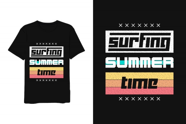 Surfing summer time, lettering t shirt red yellow blue modern simple style