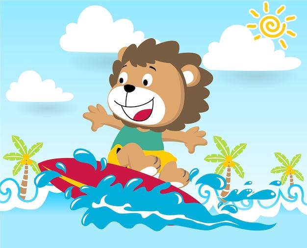 Surfing at summer, vector cartoon illustration