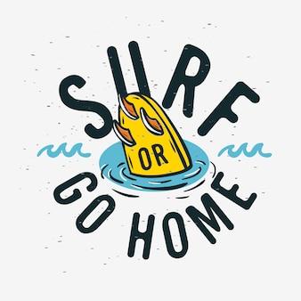 프로 모션 광고 티셔츠 또는 스티커 포스터 전단지 디자인 이미지 서핑 서핑 기호 레이블.