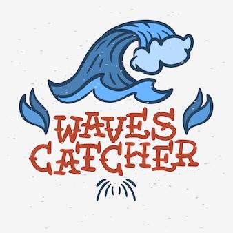 サーフィンサーフィンテーマの手描きのグラフィック伝統的なオールドスクールヴィンテージタトゥープロモーション広告のtシャツやステッカーのポスターチラシデザインイメージにインスパイアされたもの。
