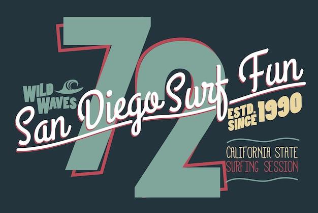 서핑 티셔츠 그래픽 디자인. 캘리포니아 서퍼는 우표를 착용합니다. 스포츠 타이포그래피 엠블럼. 벡터